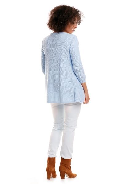 Be MaaMaa Svetříkový kabátek s kapsami DORY - světle modrá