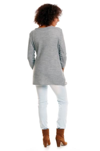 Be MaaMaa Svetříkový kabátek s kapsami Dory - světle šedá