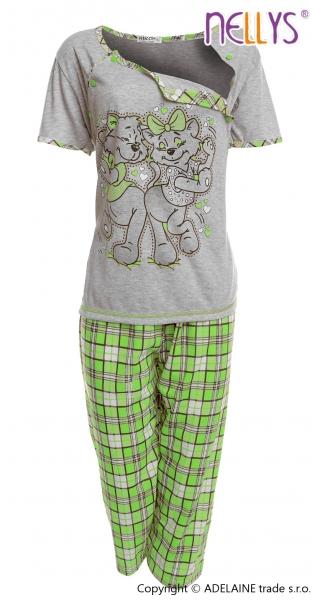 Těhotenské, kojící pyžamo Kočky 2D - šedá/zelená