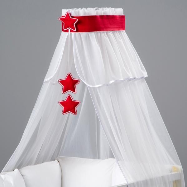 Nebesa šifon - bílá / červené hvězdičky