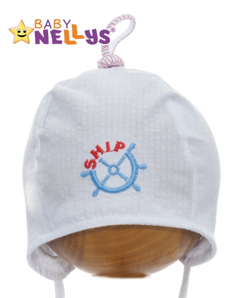 Letní čepička Baby Nellys - námořnická - bílá, Velikost: 34/36 čepičky obvod