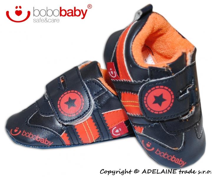 Capačky/botičky BOBO BABY - Hvězdička černé/oranž