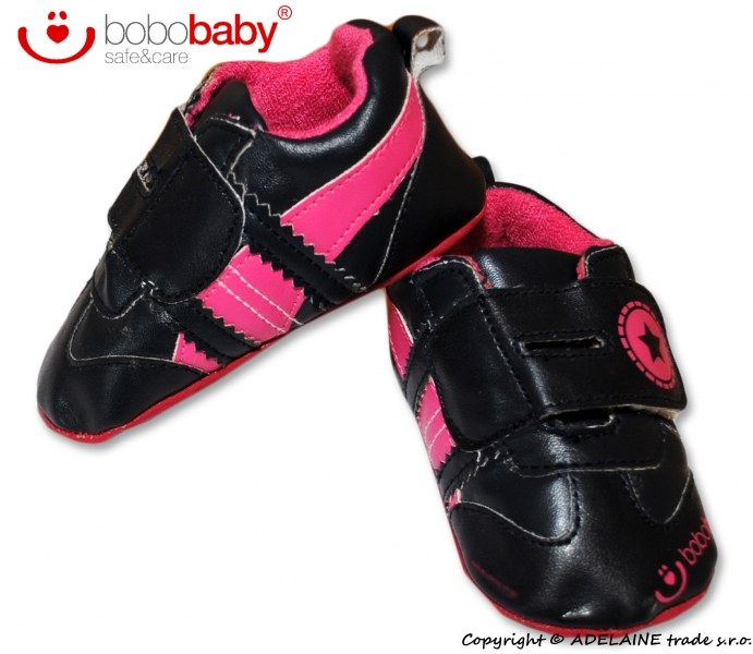 Capačky/botičky BOBO BABY - Hvězdička černé/růžové