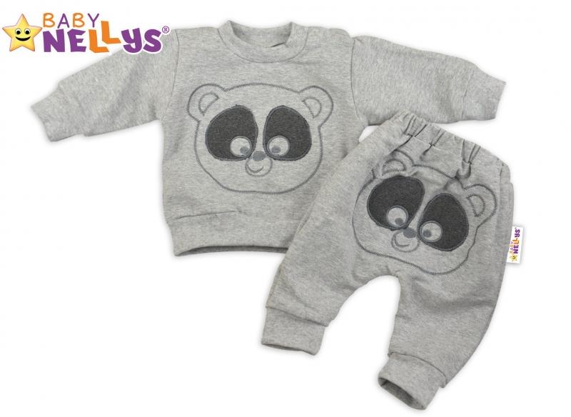 Tepláková souprava Baby Nellys - Medvídek - šedý melír, Velikost: 74 (6-9m)