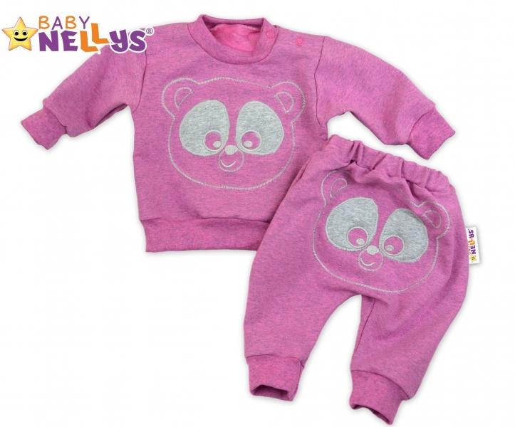 Tepláková souprava Baby Nellys - Medvídek - růžový melír, vel. 74