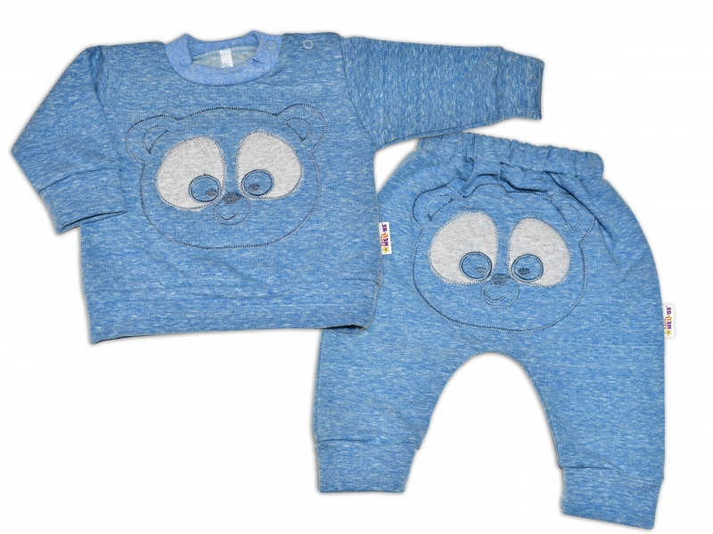 Tepláková souprava Baby Nellys - Medvídek - modrý melír,  vel. 80, Velikost: 80 (9-12m)