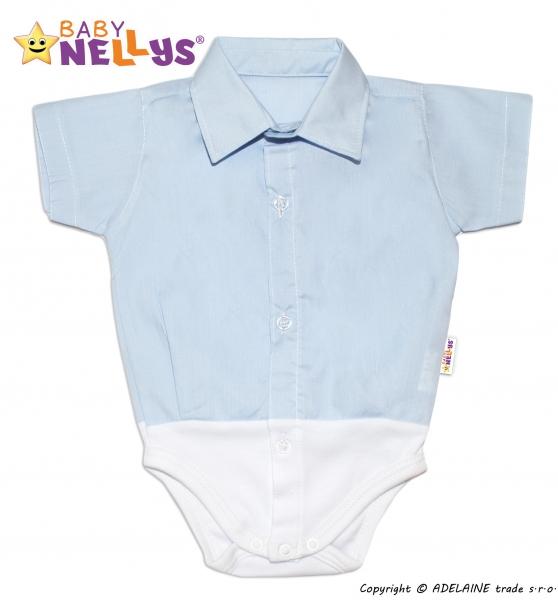Baby Nellys Košilkové body krátký rukáv - modré, vel.62