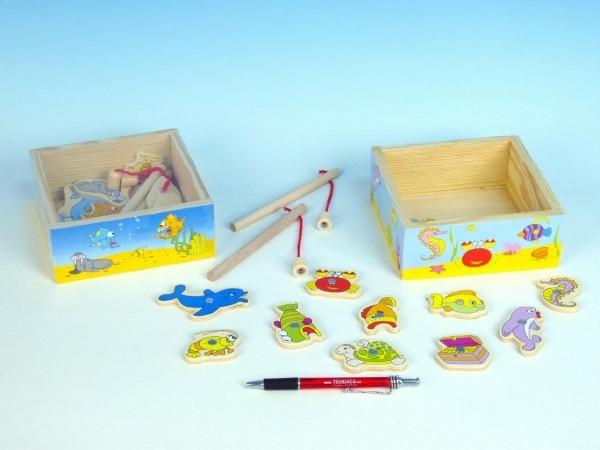 Hra ryby/rybář dřevo akvárium 15x15x6cm magnetické asst 2 druhy v krabičce (1 ks, 2 druhy dle skladu)