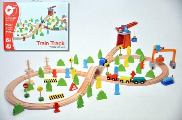 Vlak dřevo s dráhou + doplňky 75 ks v krabici 40x30x11cm