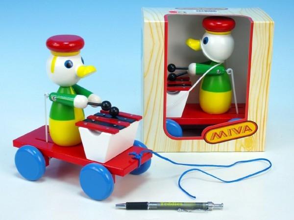 Kačer s xylofonem tahací barevný 20cm v krabičce