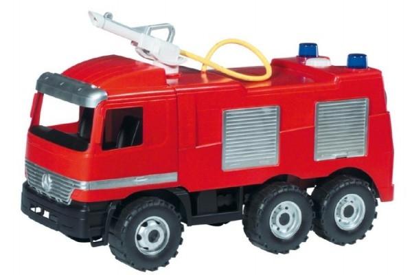 Mercedes auto hasiči plast 60cm stříkací vodu nádržka 1,6l v krabici 68x38x27cm