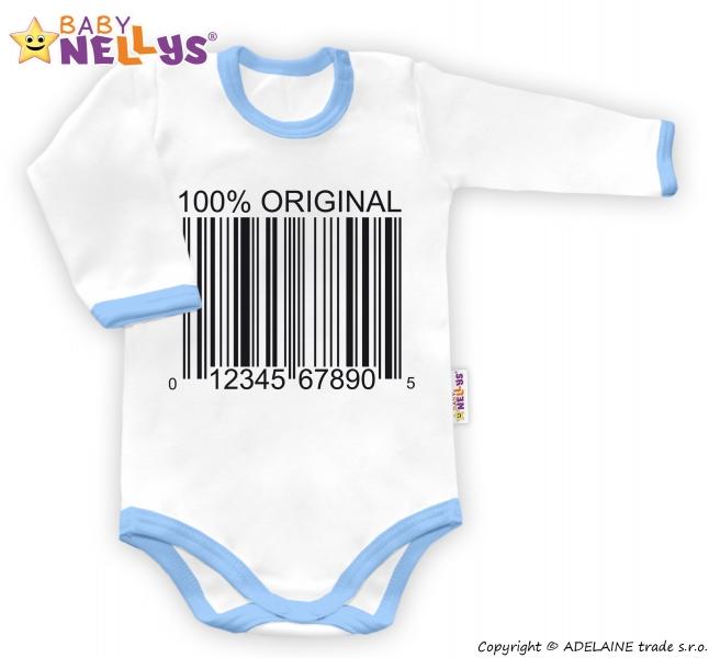 Baby Nellys Body dlouhý rukáv 100% ORIGINÁL - bílé/modrý lem