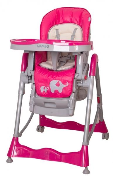 Jídelní židlička COTO BABY Mambo Hot Pink - SLONÍCI (Židlička Mambo - barva malina - SLONÍCI)