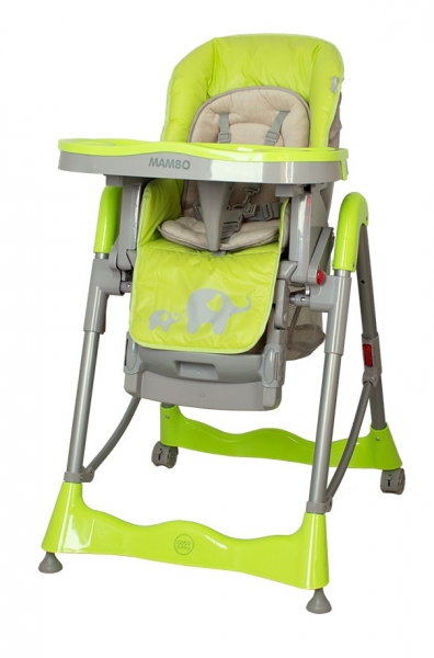 Jídelní židlička COTO BABY Mambo Green - SLONÍCÍ (Židlička Mambo - barva zelená - SLONÍCI)