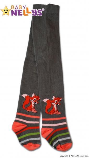 Bavlněné punčocháče Baby Nellys ®  - Liška khaki s proužkem, vel. 92/98