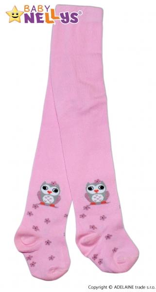 Bavlněné punčocháče Baby Nellys ®  - Sovička růžové, vel. 80/86