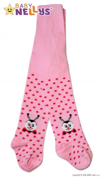 Bavlněné punčocháče Baby Nellys ®  - Beruška růžové s puntíky, vel. 92/98