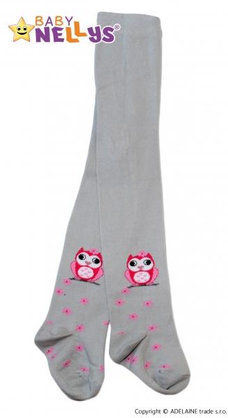Bavlněné punčocháče Baby Nellys ®  - Sovička šedé, vel. 92/98vel. 92 (18-24m)