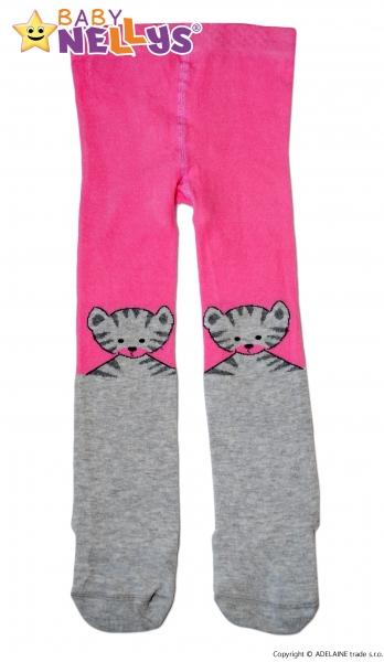 Bavlněné punčocháče Baby Nellys ®  - Kočička šedá/ růžová, vel. 80/86