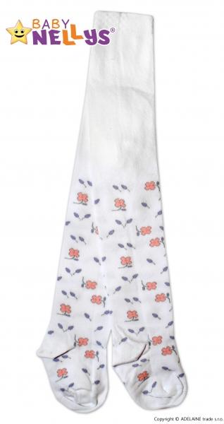 Bavlněné punčocháče Baby Nellys ®  - Květinky v bílé