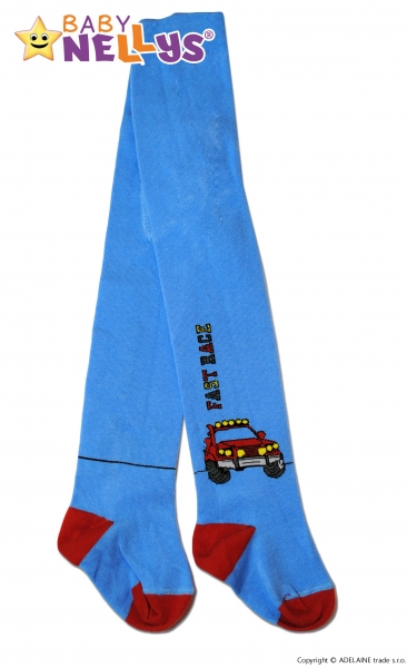 Bavlněné punčocháče Baby Nellys ®  - FAST RACE sv. modré, vel. 80/86