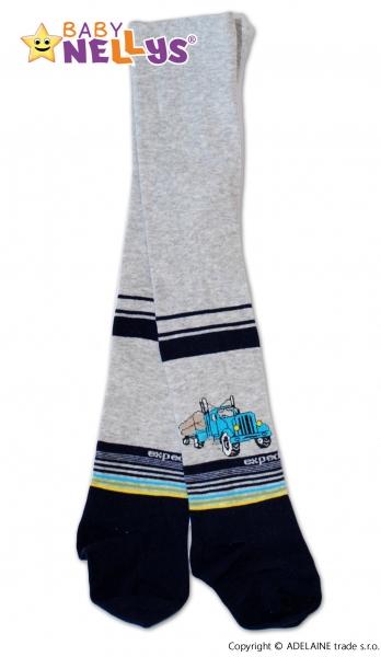 Bavlněné punčocháče Baby Nellys ®  - KAMION sv. šedý s pruhy, vel. 80/86