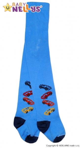 Bavlněné punčocháče Baby Nellys ®  - 4 autička sv. modré