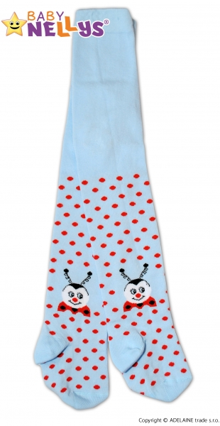 Bavlněné punčocháče Baby Nellys ®  - Beruška sv. modrá s puntíky, vel. 104/110