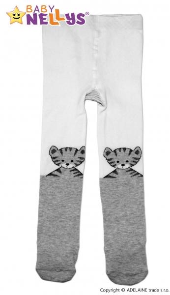 Bavlněné punčocháče Baby Nellys ®  - Kočička šedá/bílá, vel. 80/86