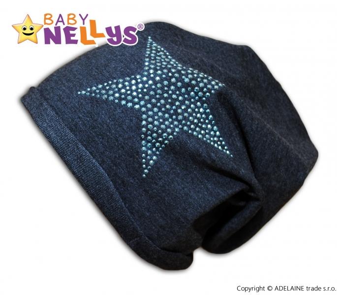 Bavlněná čepička Baby Nellys ® - Hvězdička modrá, Velikost: 1,5-4 roky