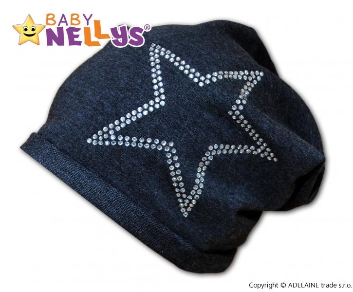 Bavlněná čepička Baby Nellys ® - Hvězdička/ stříbrný lem