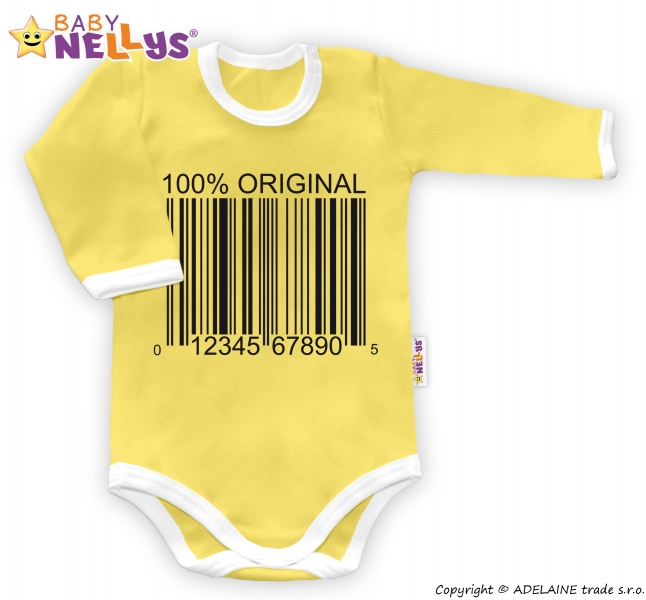 Body dlouhý rukáv 100% ORIGINÁL - žluté/bílý lem, Velikost: 80 (9-12m)