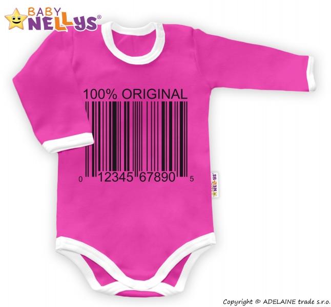 Baby Nellys Body dlouhý rukáv 100% ORIGINÁL - růžové/bílý lem