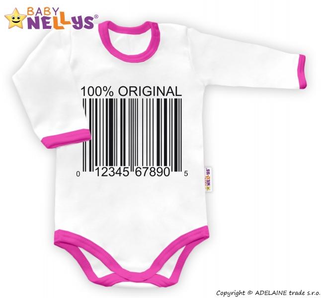 Baby Nellys Body dlouhý rukáv 100% ORIGINÁL - bílé/růžový lem