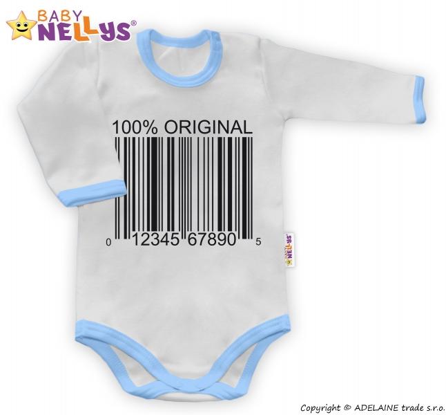 Baby Nellys Body dlouhý rukáv 100% ORIGINÁL - šedé/modrý lem