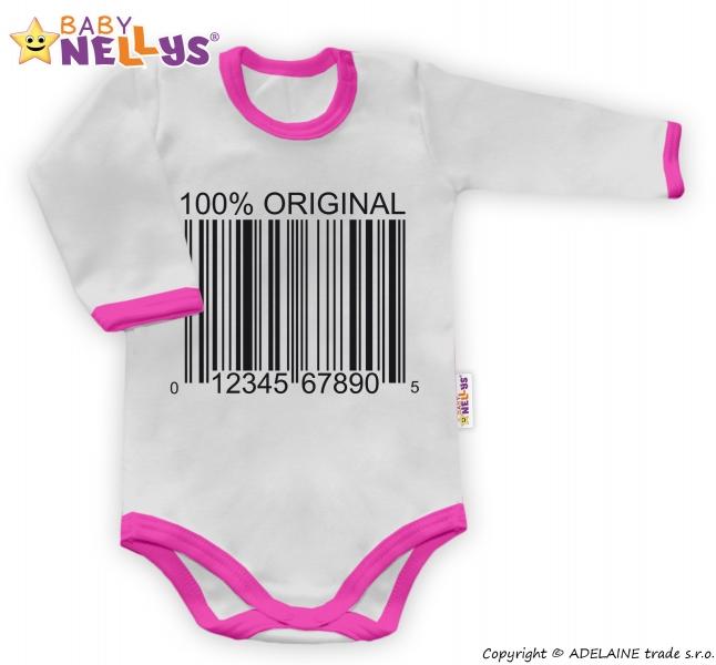 Baby Nellys Body dlouhý rukáv 100% ORIGINÁL - šedé/růžový lem