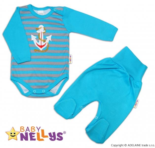 2D Souprava body dl. rukáv + polodupačky Baby Nellys ® - Kotvičk