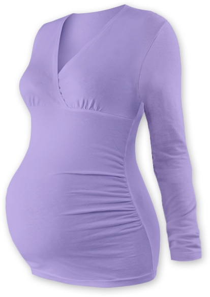 JOŽÁNEK Těhotenské triko/tunika dlouhý rukáv EVA - levandule