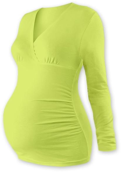 Těhotenské triko/tunika dlouhý rukáv EVA - sv. zelené, Velikost: L/XL