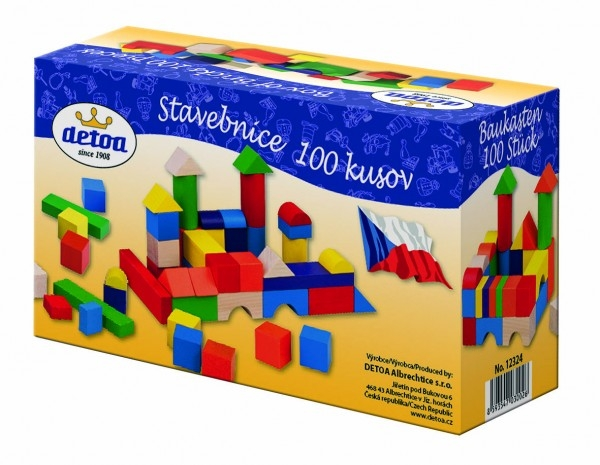 Kostky stavebnice dřevo 100ks v krabici 20x12x8cm