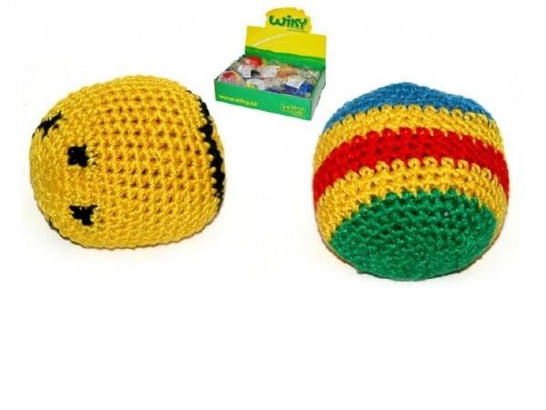 Hakysák míček footbag 6cm háčkovaný textilní v sáčku 24ks v boxu