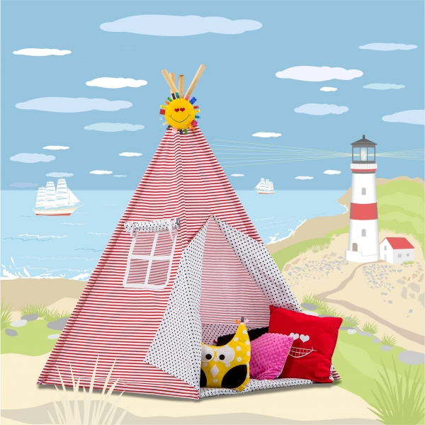 Stan pro děti TIPI + podložka a 2 polštářky - Námořnické pruhy modré tečky