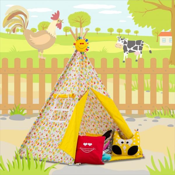 Stan pro děti TIPI + podložka a 2 polštářky - Veselé včelky, žlutá (Stan pro děti TIPI vzor: 277101, týpí, tepee, teepee)