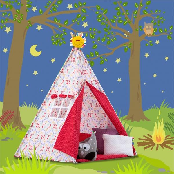 Stan pro děti TIPI + podložka a 2 polštářky - Barevné žirafky/tečky v červené