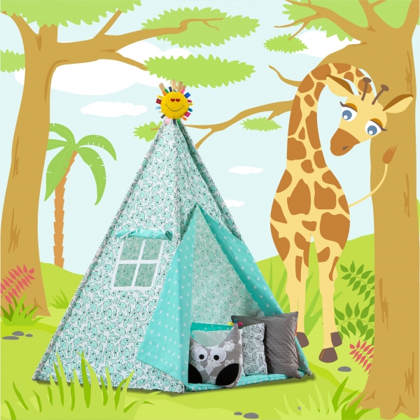 Stan pro děti TIPI + podložka a 2 polštářky - Zvířátka a hvězdičky mátové (Stan pro děti TIPI vzor: 283324, týpí, tepee, teepee)