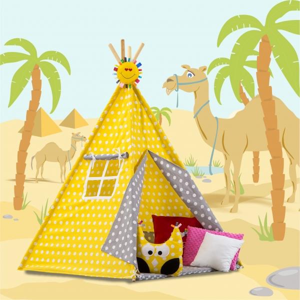 Stan pro děti TIPI + podložka a 2 polštářky - Bubble retro žluté a šedé