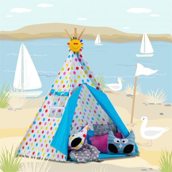 Stan pro děti TIPI + podložka a 2 polštářky - Bubble léto s modrou