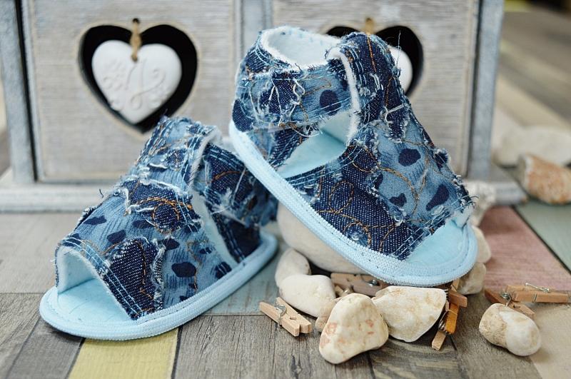 Jeansové capačky/sandálky LOLA BABY - modré, Velikost: 12cm vel. botky