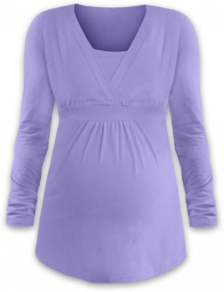 JOŽÁNEK Kojící i těhotenská tunika ANIČKA s dlouhým rukávem - šeříková, Velikost: L/XL