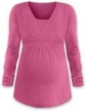 JOŽÁNEK Kojící i těhotenská tunika ANIČKA s dlouhým rukávem - růžová